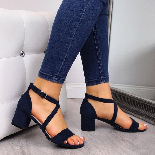 Sandały damskie na klocku granatowe Sergio Leone