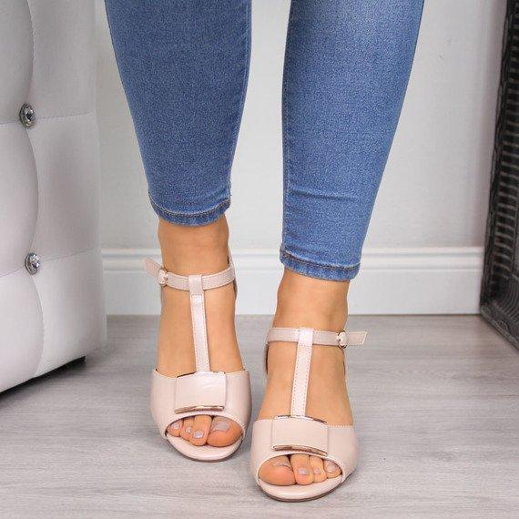Sandały damskie na klocku różowe perłowe Sergio Leone