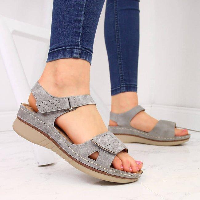 Sandały damskie na platformie komfortowe szare Jezzi