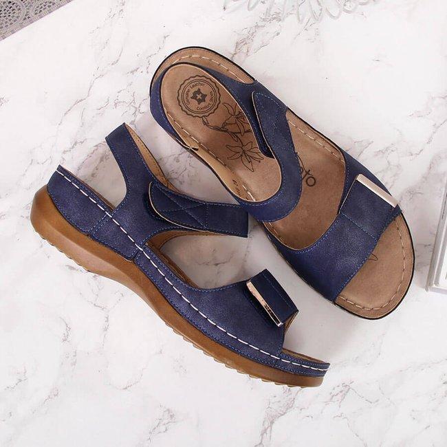 Sandały damskie na rzepy granatowe eVento