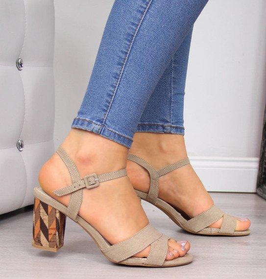 Sandały damskie na słupku beżowe Filippo