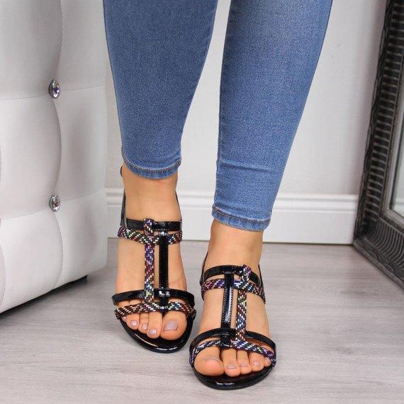 Sandały damskie na słupku czarne Juma 2667