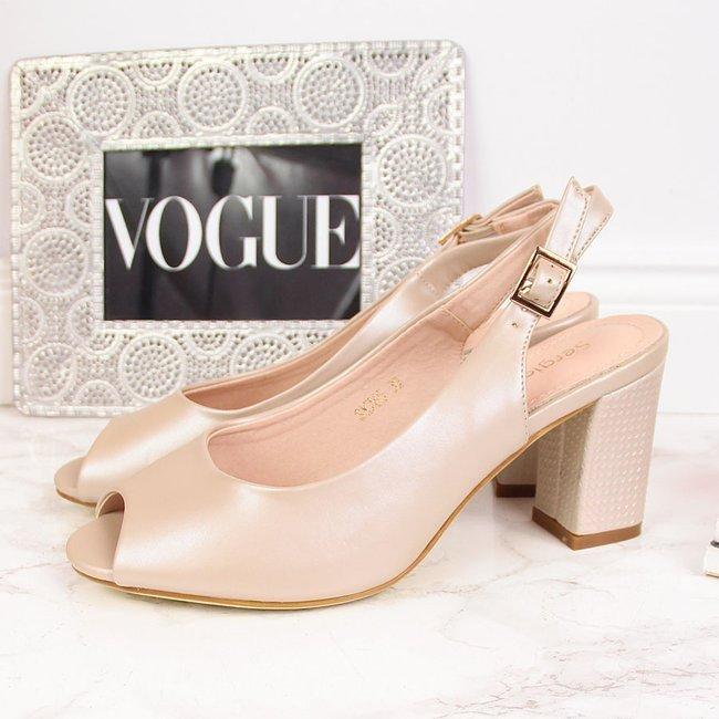 Sandały damskie na słupku nude perłowe Sergio Leone