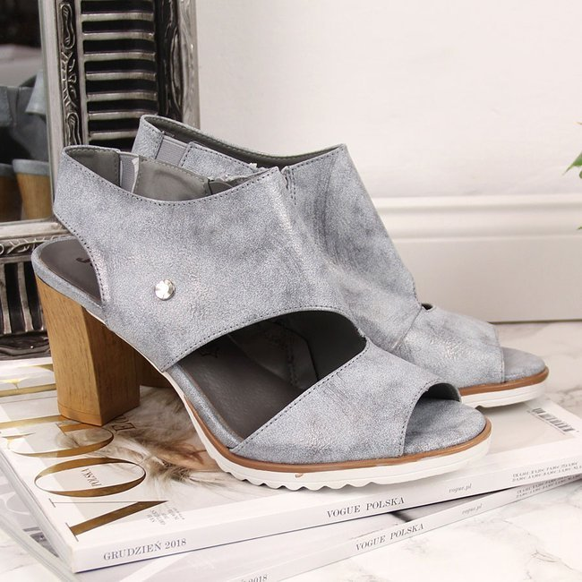 Sandały damskie na słupku srebrne Jezzi