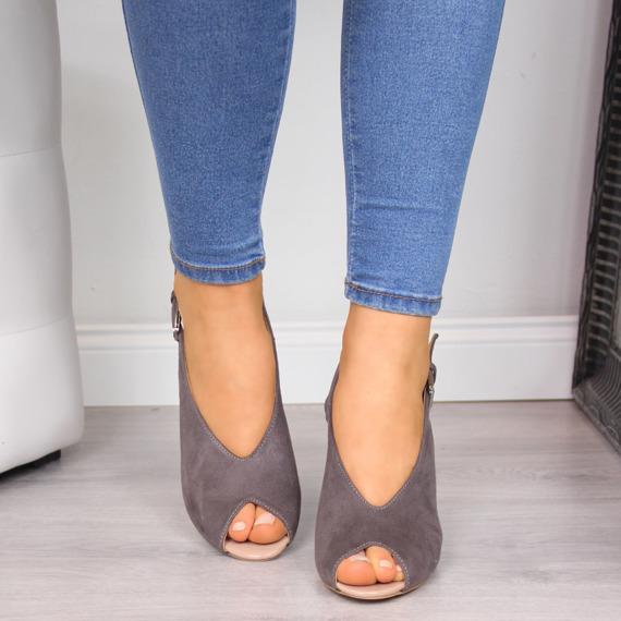 Sandały damskie na słupku szare eVento