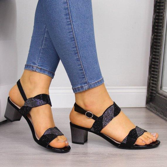Sandały damskie na słupku z cyrkoniami czarne Sergio Leone