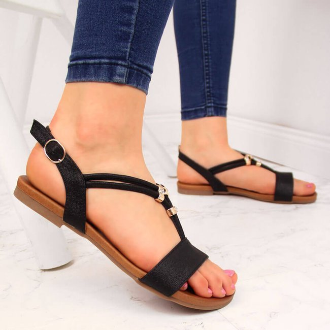 Sandały damskie regulowane paski czarne S.Barski