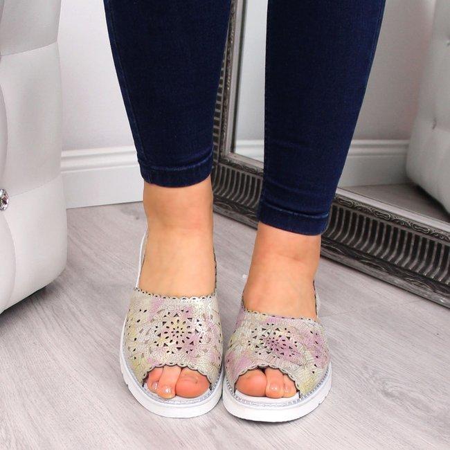 Sandały damskie skórzane ażurowe Dr.Ridel