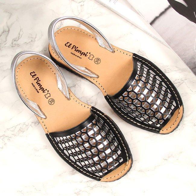 Sandały damskie skórzane ażurowe czarne El Pimpi