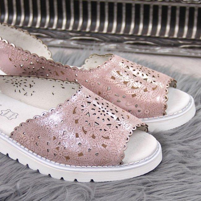 Sandały damskie skórzane ażurowe różowe Dr.Ridel
