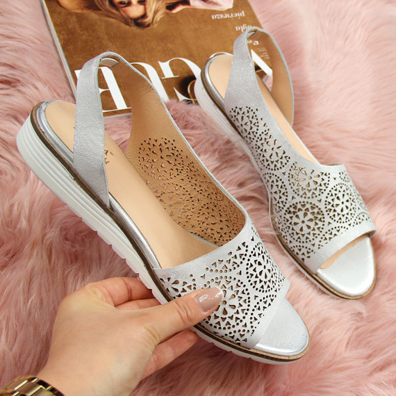 Sandały damskie skórzane ażurowe srebrne Juma 2654