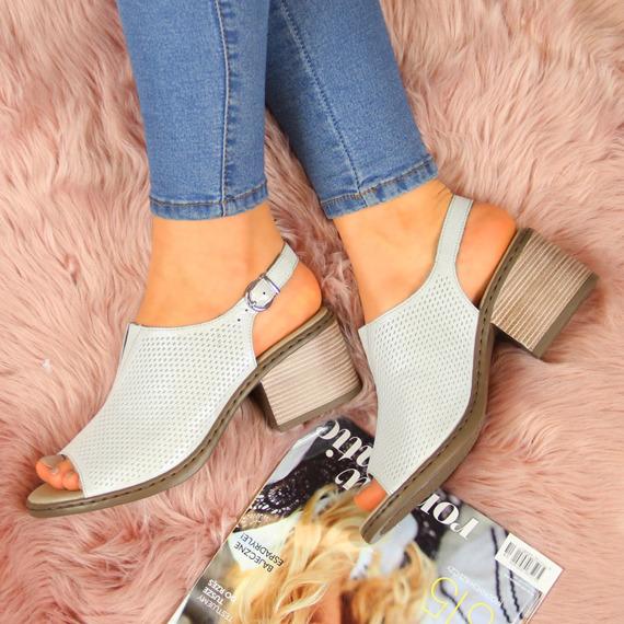 Sandały damskie skórzane ażurowe srebrne Rieker V0557-80
