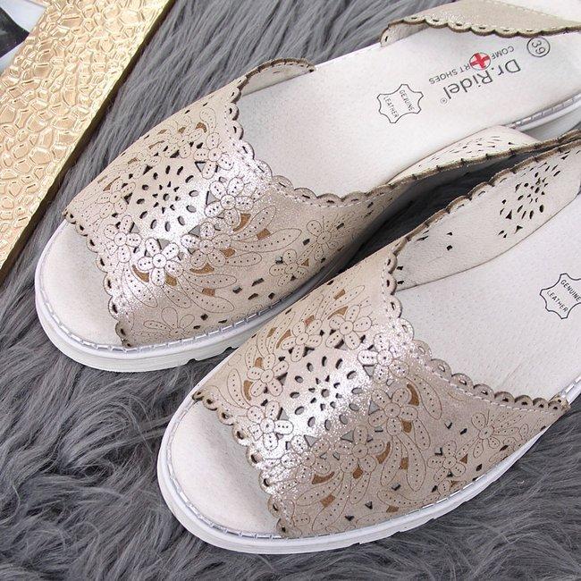 Sandały damskie skórzane ażurowe złote Dr.Ridel