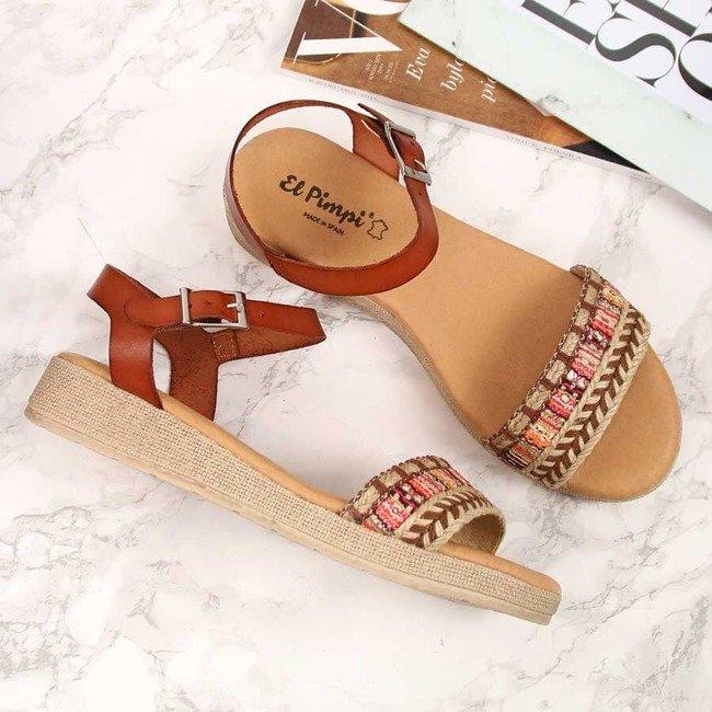 Sandały damskie skórzane na koturnie brązowe El Pimpi