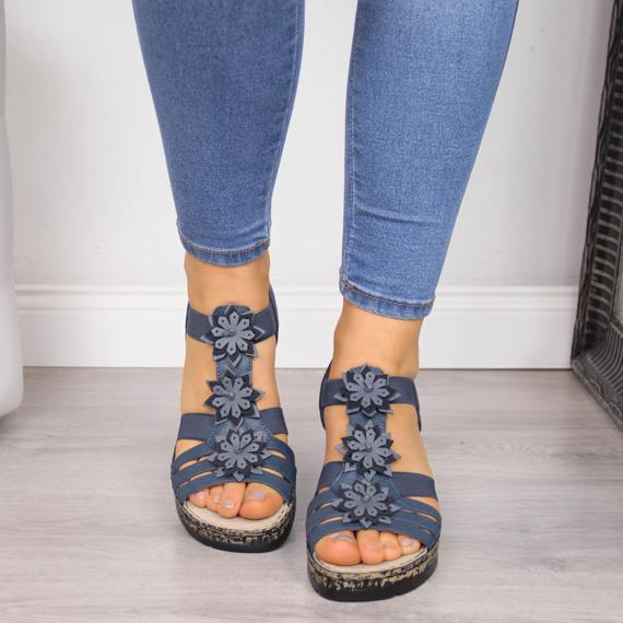 Sandały damskie skórzane na koturnie granatowe Rieker V7673-12
