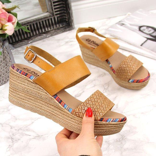 Sandały damskie skórzane na koturnie żółte El Pimpi