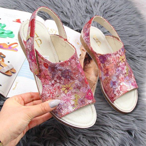 Sandały damskie skórzane w kwiaty Dolce Pietro 2205