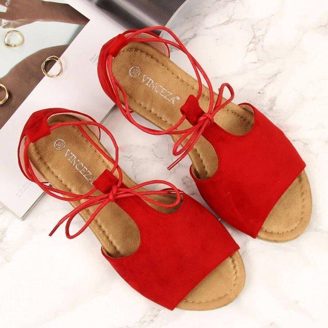Sandały damskie sznurowane rzymianki czerwone Vinceza