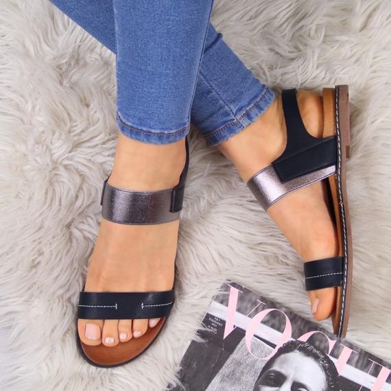 Sandały damskie wsuwane czarne Sergio Leone