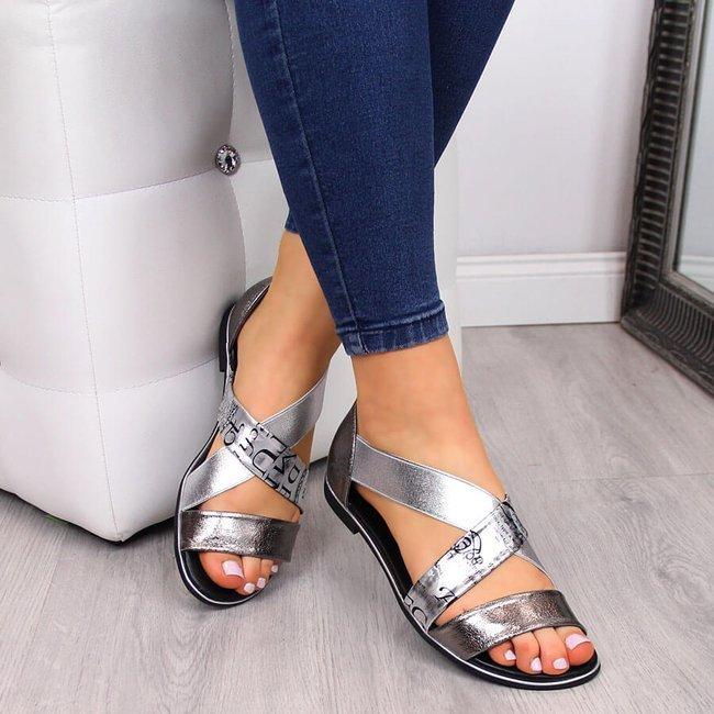 Sandały damskie wsuwane na gumkę srebrne Jezzi