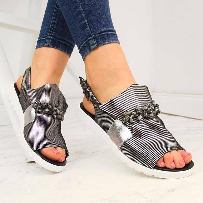 Sandały damskie z kamieniami srebrne Jezzi