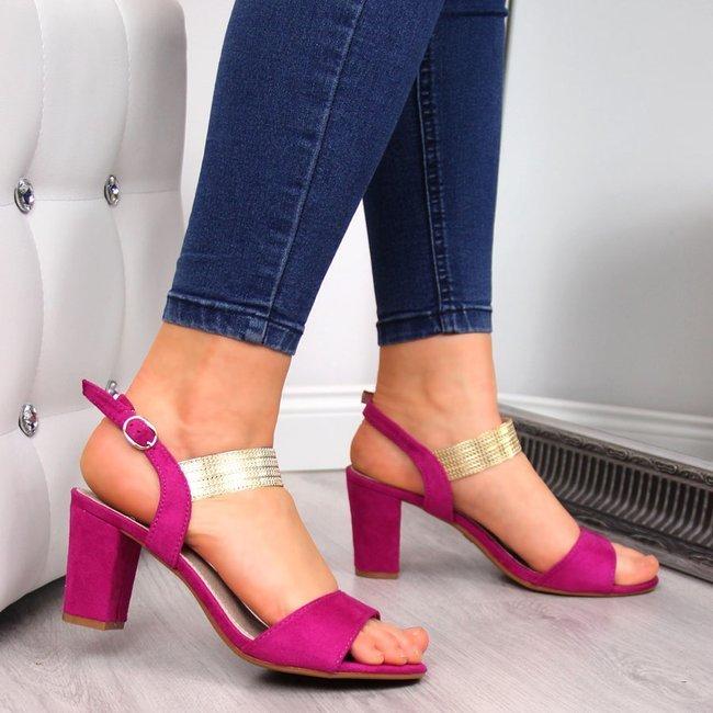 Sandały damskie z ozdobnym paskiem fuksja Filippo