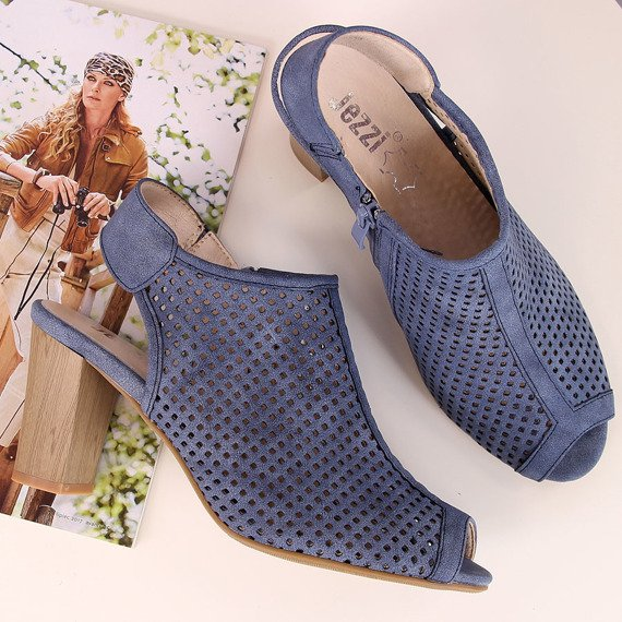 Sandały damskie zabudowane ażurowe niebieskie Jezzi
