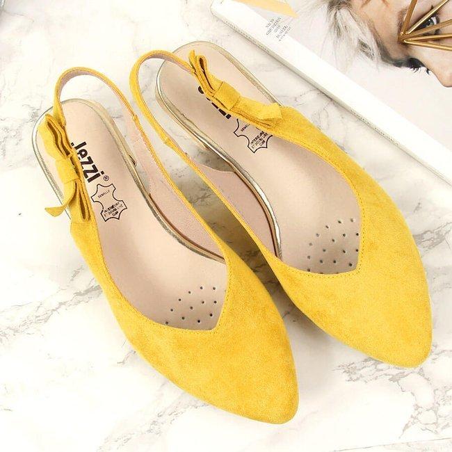 Sandały damskie zamszowe na ozdobnym obcasie żółte Jezzi