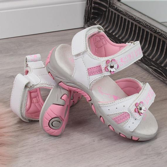 Sandały dziewczęce na rzep białe American Club