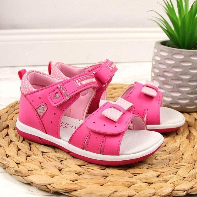 Sandały dziewczęce na rzep różowe American Club