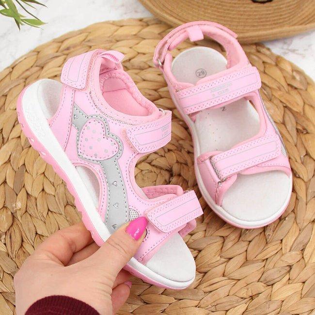 Sandały dziewczęce sportowe na rzepy różowe American Club