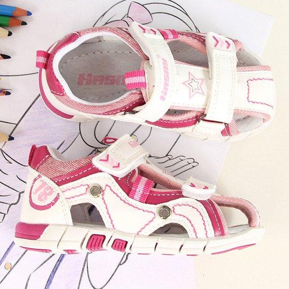 Sandały dziewczęce zabudowane białe Hasby