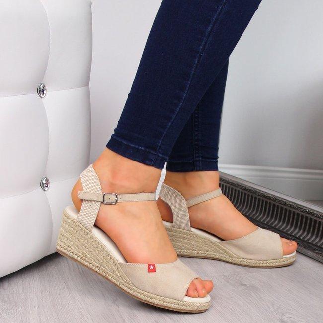 Sandały espadryle na koturnie beżowe Big Star FF274541