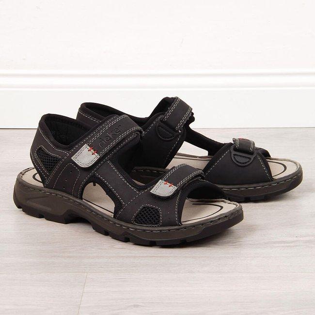 Sandały męskie komfortowe na rzepy czarne Rieker 26156