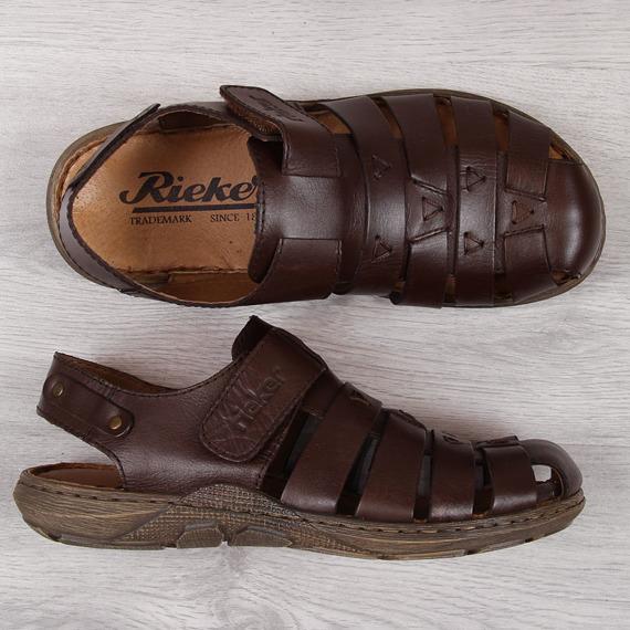 Sandały męskie na rzep brązowe Rieker 22074-25