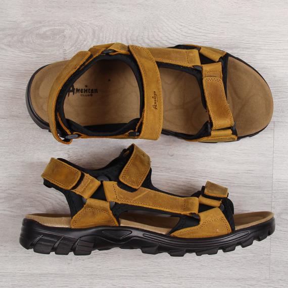 Sandały męskie skórzane brązowe American Club