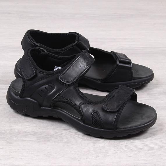 Sandały męskie skórzane na rzep czarne American Club