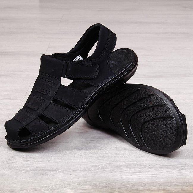Sandały męskie skórzane zabudowane czarne American Club