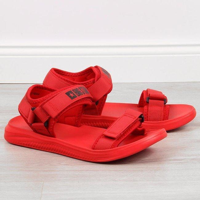 Sandały męskie sportowe na rzepy czerwone Big Star HH174844