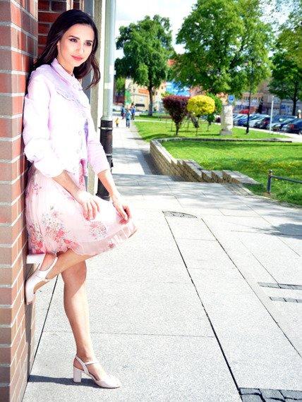 Sandały na słupku pudrowy róż Sergio Leone