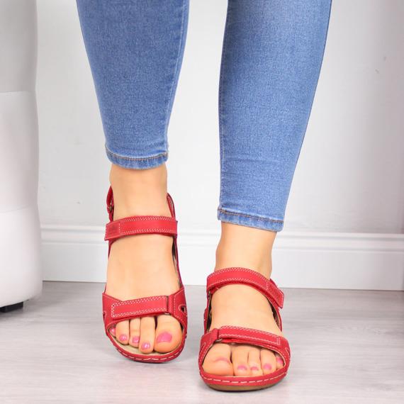 Sandały skórzane damskie na rzep czerwone Helios 205