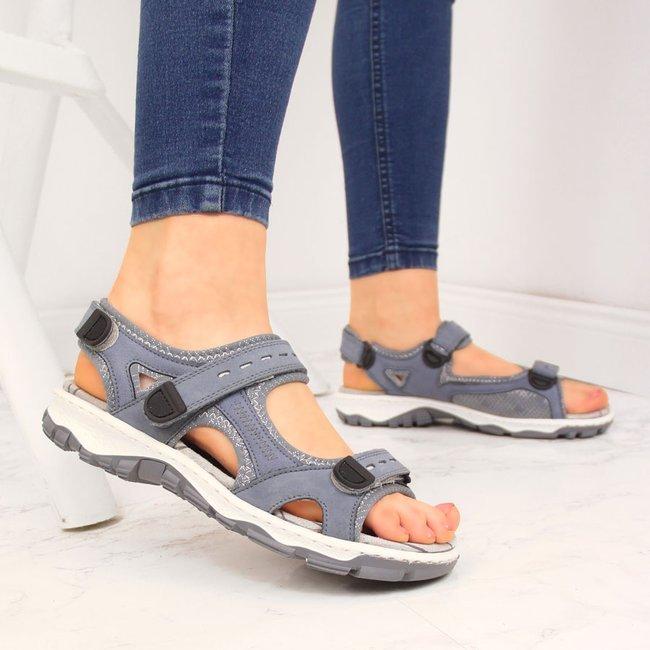 Sandały skórzane damskie na rzepy niebieskie Rieker 68874