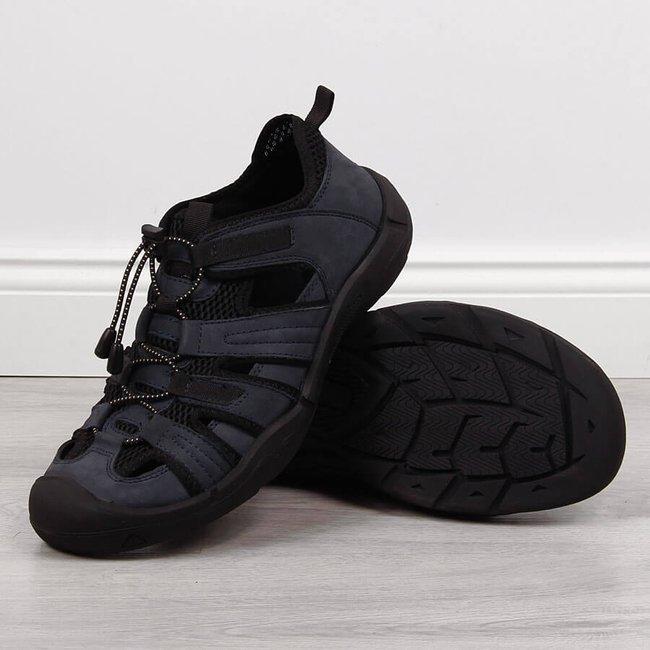 Sandały skórzane męskie sportowe granatowe American Club