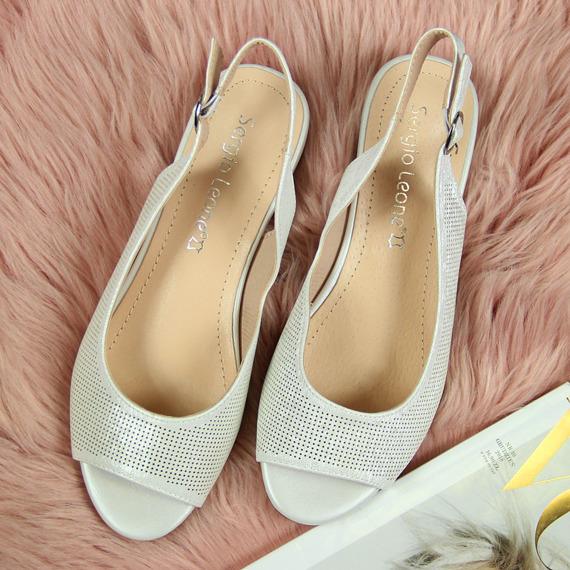 Sandały srebrne połyskujące Sergio Leone