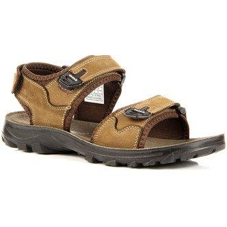 Skórzane brązowe sandały na rzepy Hasby