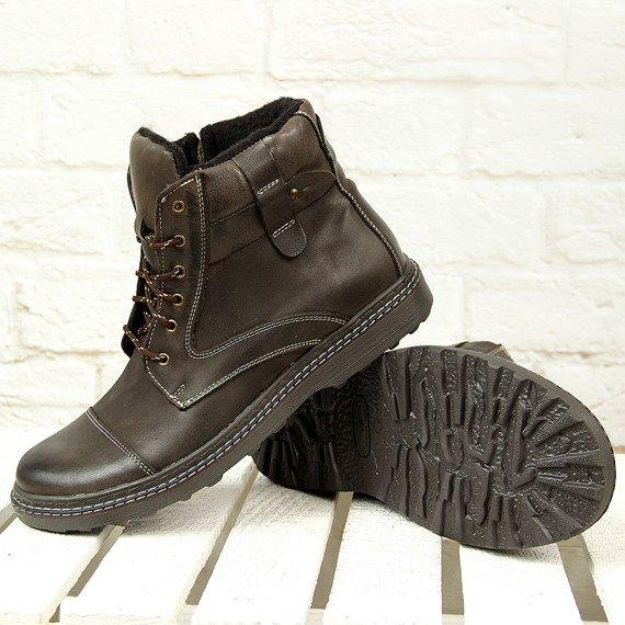 Skórzane buty męskie oficerki zimowe na suwak brązowe Rafado