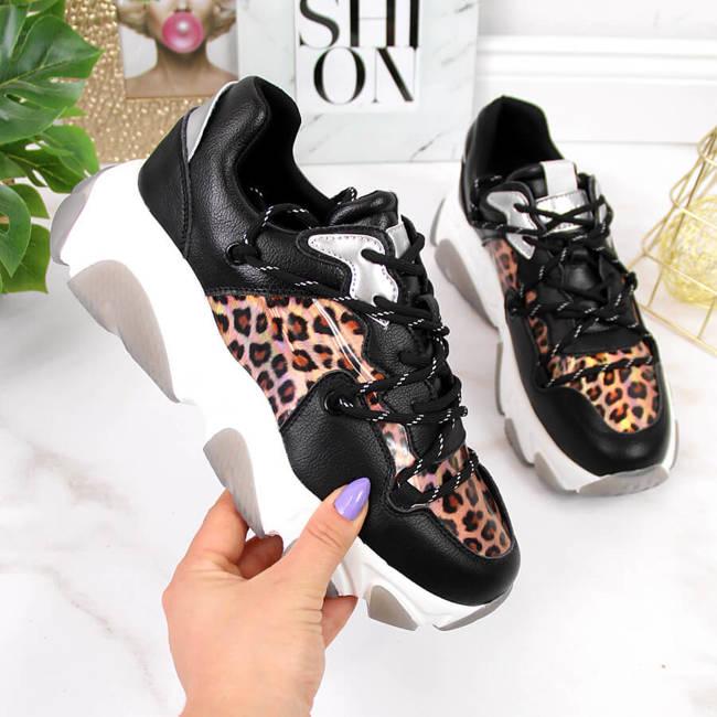Skórzane buty sportowe damskie panterka Goe II2N4067