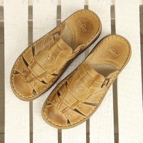 Skórzane klapki męskie komfortowe pieczarkowe Łukbut 962