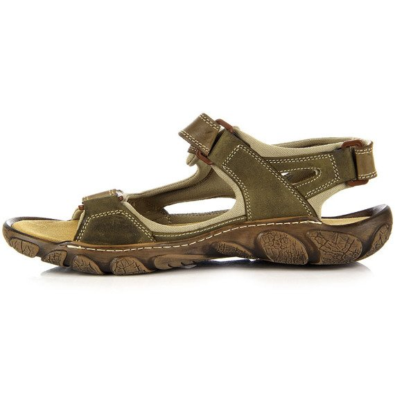 Skórzane oliwkowe sandały męskie HELIOS 850