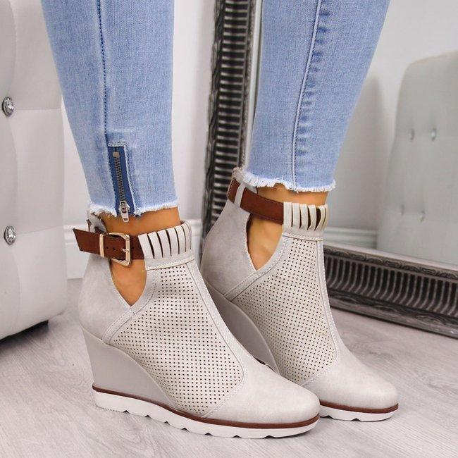 Sneakersy damskie na koturnie ażurowe beżowe Filippo